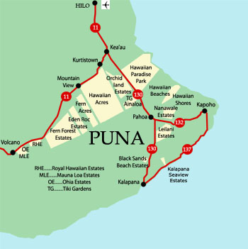 Big Island Hawaii   Puna Real Estate Maps Information